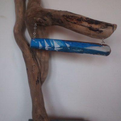 """Bois Flotté """"Régate"""" et peinture sur Pied de couteau , monté sur un socle en Ardoise"""
